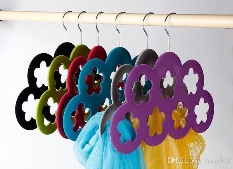 Plum Blossom Velvet Hangers 7 Wintersweet for Scarf Ties Belts Jewelry Accessories Hats Flocking Hangers Home Office Shop Storage Racks