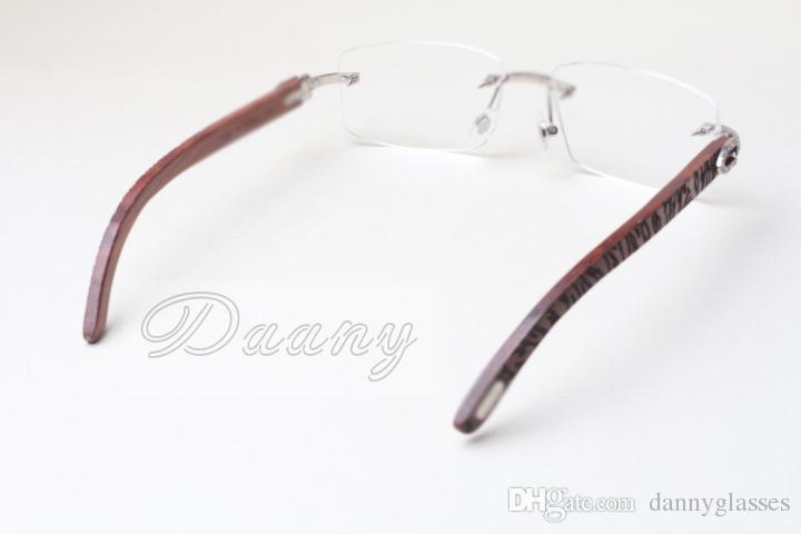 New frameless square diamond frames, T8100905 white lenses, natural wooden hand carvings, mirror legs, eye frames, eyeglassessize:56-18-135