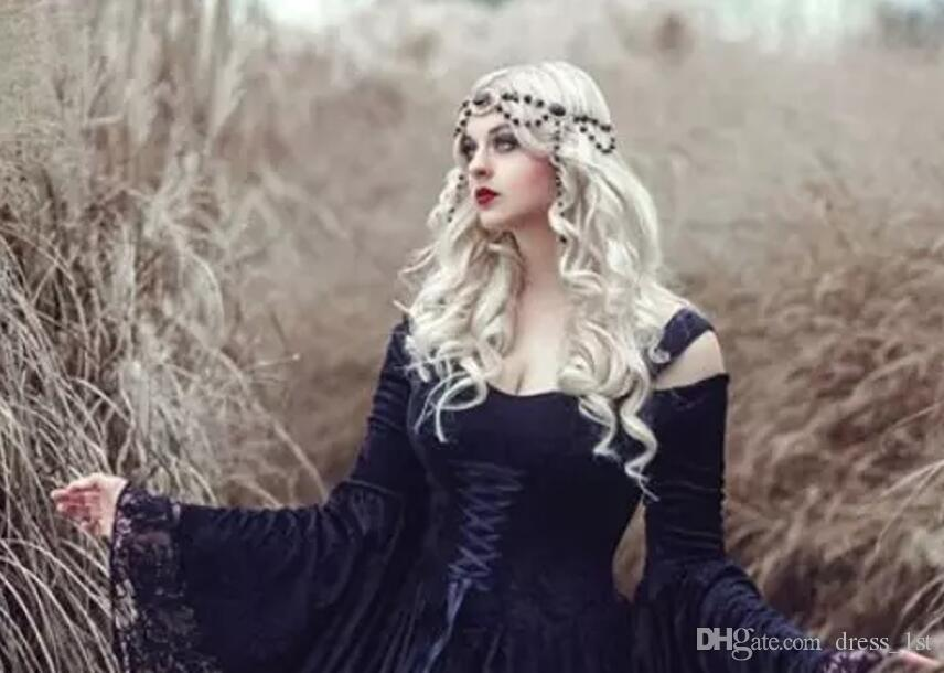Retro 2018 Black Gothic Wedding Dresses Off The Shoulder A Line Bell Long Sleeves Full Lace Medieval Corset Bridal Gowns