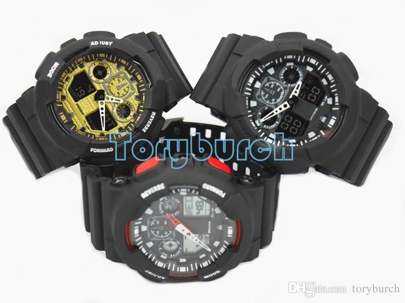 1 adet Yeni üst relogio G100 erkek spor saatler, LED chronograph kol saati askeri İzle dijital İzle, iyi hediye için, dropshipping