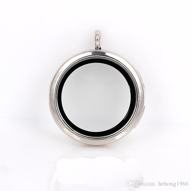 Alloy Metal Glass Floating Lockets Easy To carry DIY Living Memory Locket No Chain Round Photo Frame Pendant Electroplate 6 by B