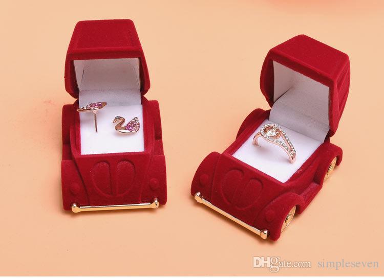 [Semplice Sette] bella sveglia Mini affollamento Anello auto di plastica Jewelry Box dell'orecchio dell'orecchino della vite prigioniera del velluto di caso regalo Contenitore