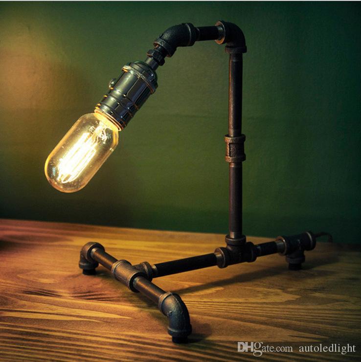 Industrial Vintage Retro Steel Pipe Desk Lamp Edison Waterpipe Table Light Dining Reading Bar Bedroom Balcony Living Room Loft Cafe Desk Lam