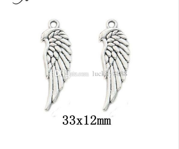 Tibetan Silver Plated double sided Angel Wings Charms Pendants for Jewelry Making DIY Craft 33*12mm