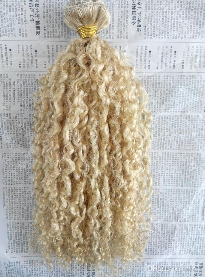 brazilian human virgin remy curly hair weft natural curl weaves unprocessed blonde 613# double drawn clip in extensions