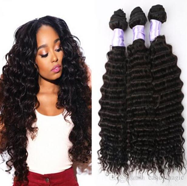 Unprocessed Indian Hair Weave Deep Curly Wave Indian Virgin Hair