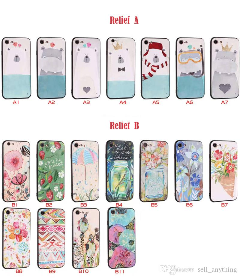 For Iphone 7plus Phone Cases 3D Stereoscopic Relief Color Painting Multi-map TPU PC Cell Phone Case For Iphone 6s 6 Plus 5