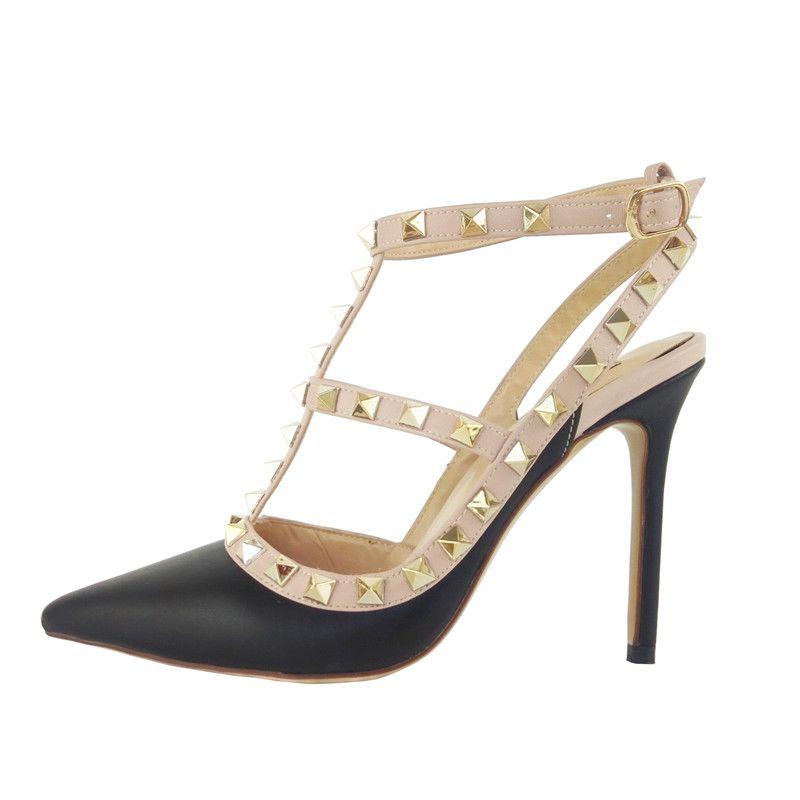 d09cc4c03 Compre Sandalias De Venta Caliente Para Las Mujeres 2018 2 Strap Zapatos De  Fiesta De Tacones Altos Remaches De Moda Chicas Sexy Espárragos Zapatos De  ...