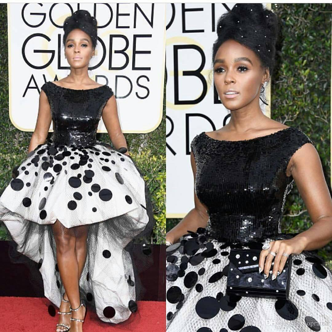 Sexy Janelle Monae Celebrity Party Dresses Ball Gown Black and White Sequins Handmade Flowers Tulle 2017 New Golden Globe Prom Evening Gowns