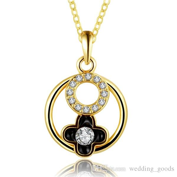 High quality women's flower 18k gold jewelry pendant necklace WGN881,A++ Yellow Gold white gemstone Necklaces with chains