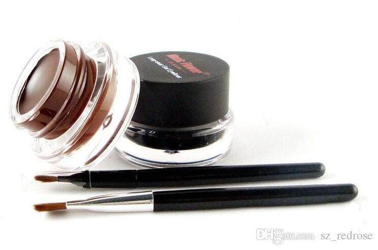 Flor de música Negro + Marrón Gel bicolor Eyeliner Smudge- Proof Water Proof Eye Liner Eye Liner Eyeliner Gel Maquillaje Cosmético + Cepillo M007