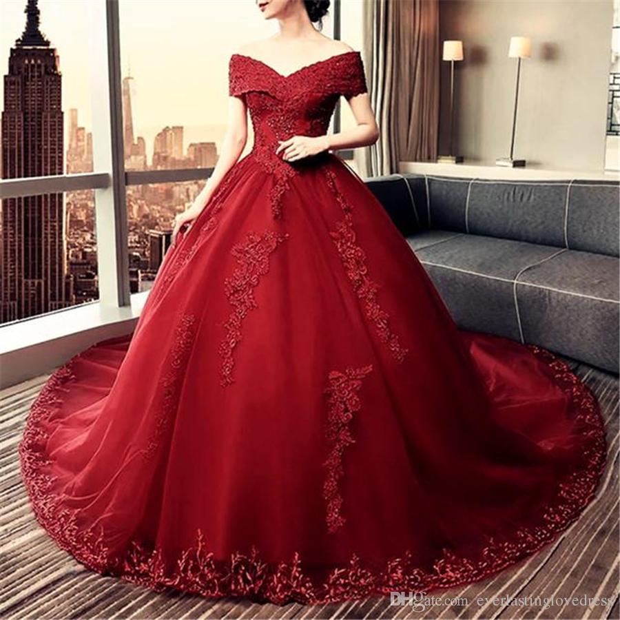 Maroon Wedding Gown: Elegant Lace Off Shoulder Royal Train Maroon Wedding