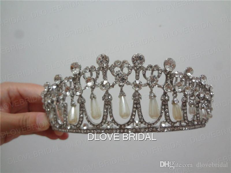 Real Photo Vintage Princess Diana Same ABS Pearl Crown Crystal Tiara Bridal Jewelry Wedding Party Hair Accessory High Quality