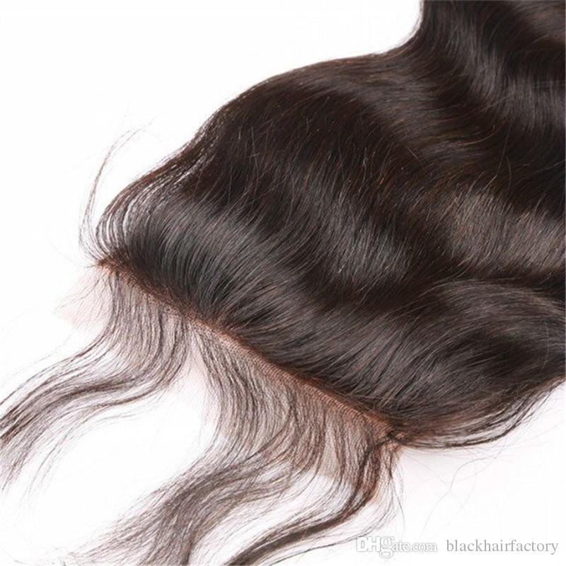 Top chiusura del merletto vergine peruviana dei capelli di colore naturale dei capelli umani non trattati 1 della chiusura di trasporto