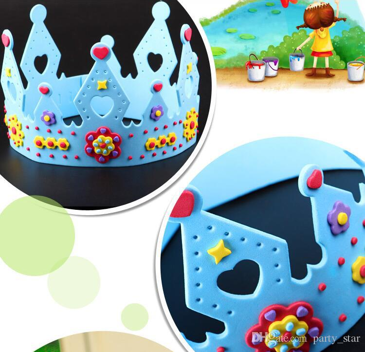 Cool 3D DIY Crown Princess Cap Party Supplies Children Birthday Party EVA Hat Decorations Kids Birthday DIY Hat Gift Toys