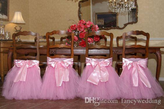 Custom Made 2017 Satin Tulle Tutu Chair Covers Vintage Romantic Chair Sashes Beautiful Fashion Wedding Decorations