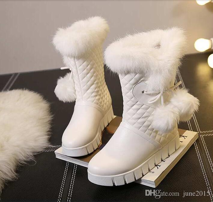 Winter New Arrival Top Quality Waterproof zipper Luxury Genuine Leather Diamond-shaped rabbit hair Sexy Increased warm soft snow boots