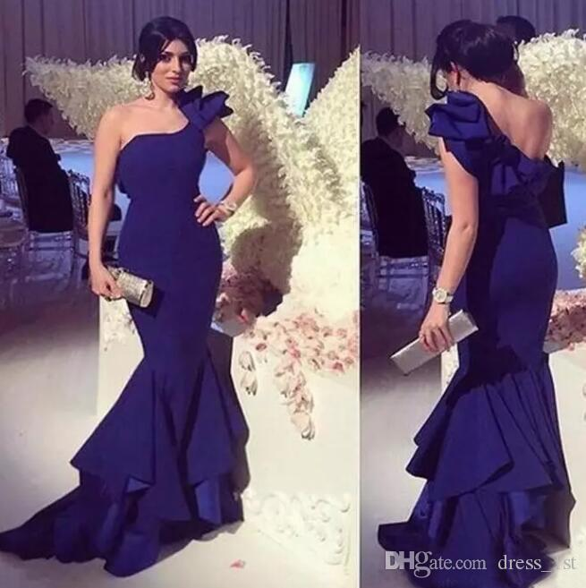 Chic 2019 Royal Purple Chiffon Mermaid Dresses Evening Wear One Shoulder Tiered Long Formal Evening Party Gowns Custom Made China EN80810