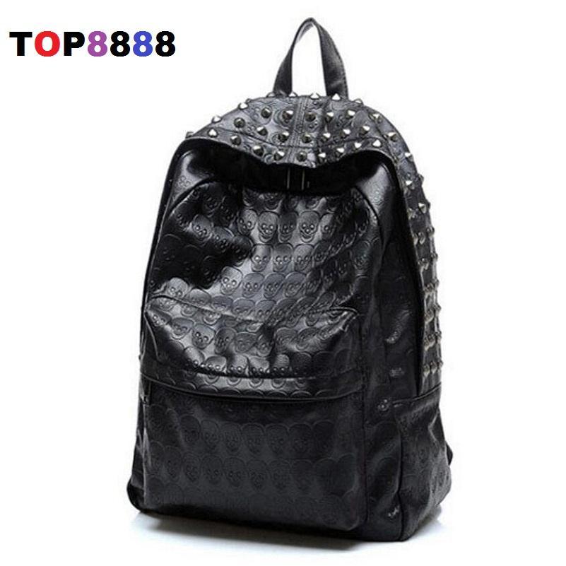 658b3e3c2af Wholesale- Best Selling New Arrival 2017 Men s Skull Backpack School Bag  Rivet Vintage Female Bags Ghost Design Backpack For Students Backpack  Clothing ...