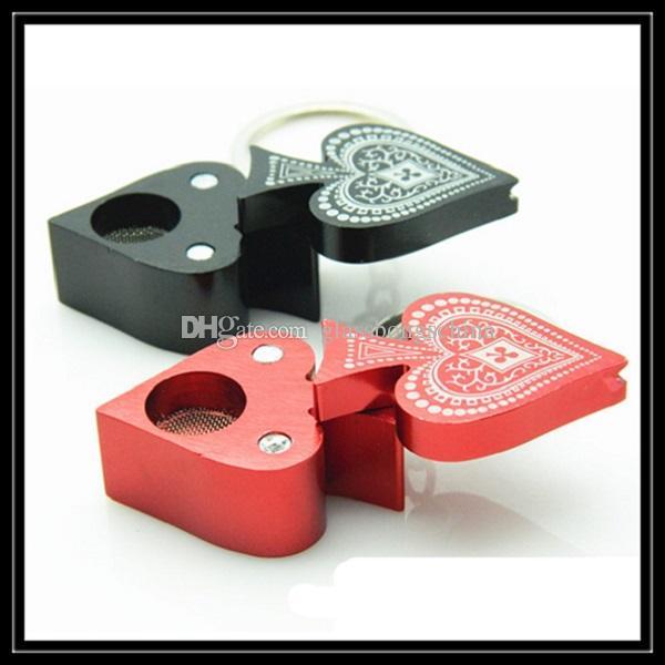 Novo Estilo Metal Pipe 2017 Poker Peach coração em forma de tubulação de fumar com chaveiro Alumínio de liga leve mini tubos de tabaco Atacado on-line