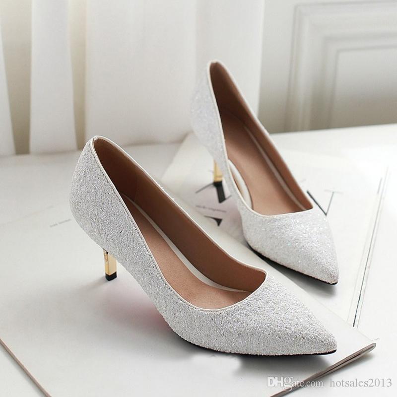 Printemps Pointu Toe Femmes Chaussures Confortable Moyen Talon Blanc Paillettes Paillettes Tissu De Mariage Partie Pompes De Mariée Plus La Taille