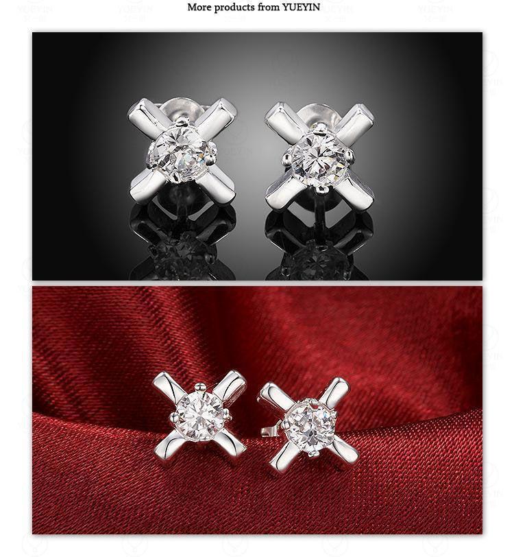 Frauen Silber Kreuz Ohrringe Geometrische Zirkon Kristall Ohrstecker Versilberung Mädchen Ohrschmuck Strass Hochzeit Luxus Stud Brincos