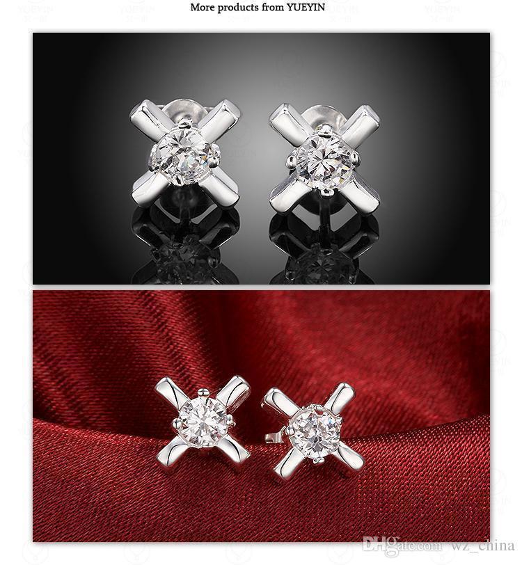 Kadınlar Gümüş Çapraz Küpe Geometrik Zirkon Kristal Saplama Küpe Gümüş Kaplama Kızlar Kulak Takı Rhinestone Düğün Lüks Damızlık Brincos