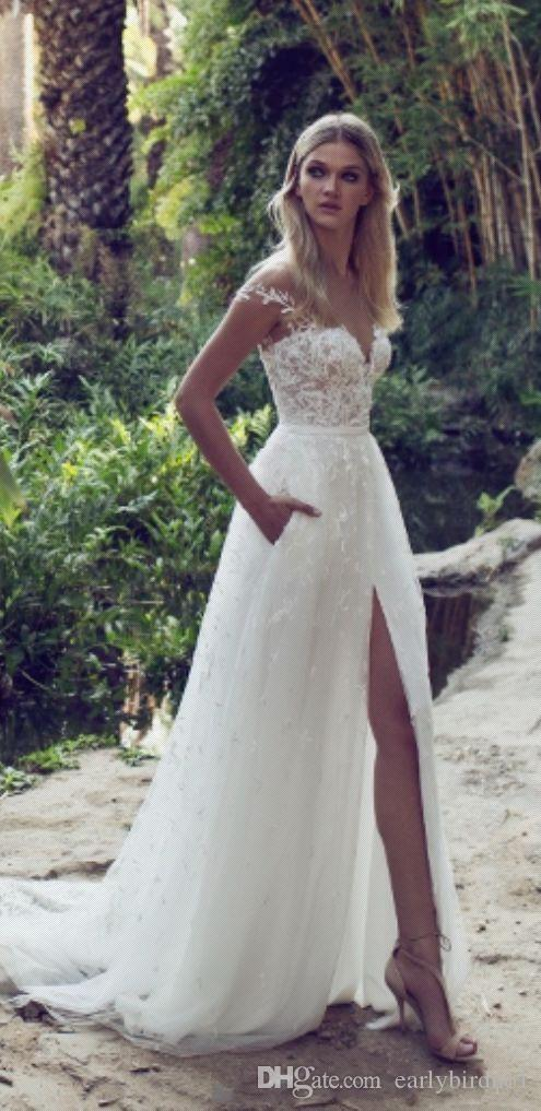 Limor Rosen 2019 A-Line Vestidos de novia de encaje Illusion Blusa Jewel Court Train Vintage Garden Beach Boho Wedding Party Vestidos de novia