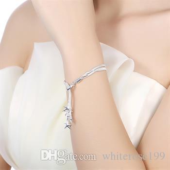 Partihandel - Retail Lägsta pris Julklapp, Gratis frakt, Ny 925 Silver Fashion Bracelet YB099
