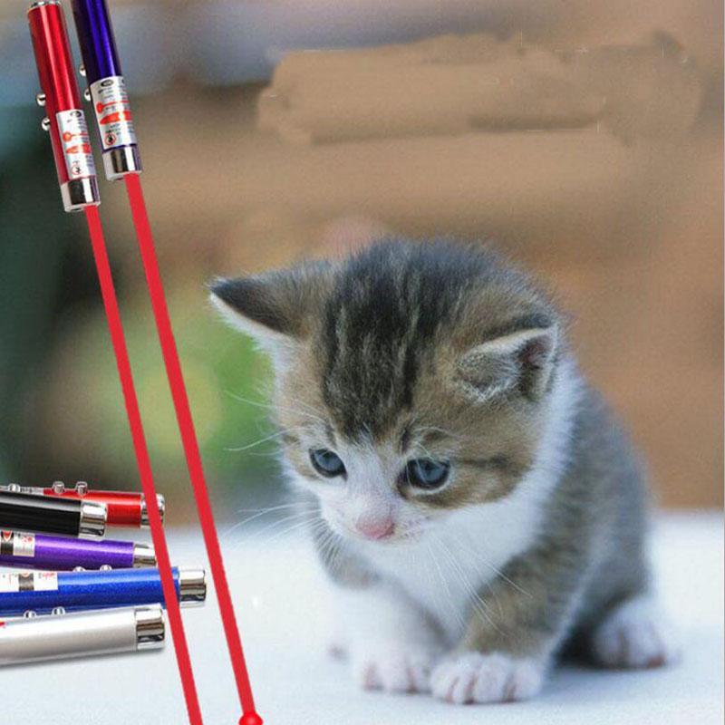 Katzenspielzeug 2 In1 Laserpointer mit weißer LED-Lichtshow Lustige Katze Haustier Infrarot-Stick Kinderspielzeug Zubehör für Haustier Haushalt im Freien