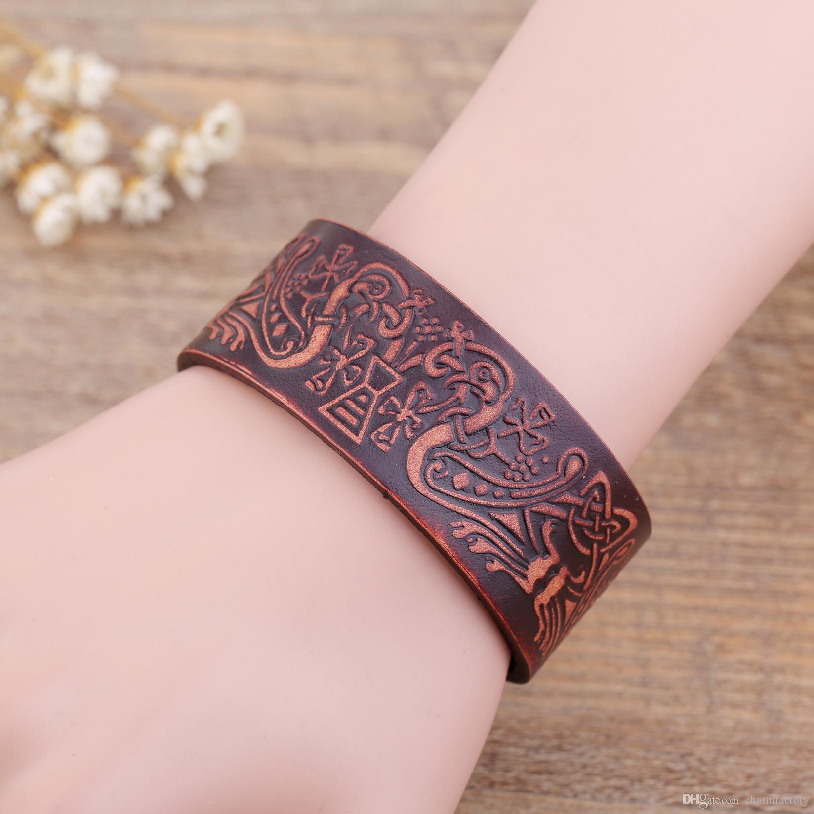 Vintage-Looking DIY Gilded Stamped Leather Bracelet images