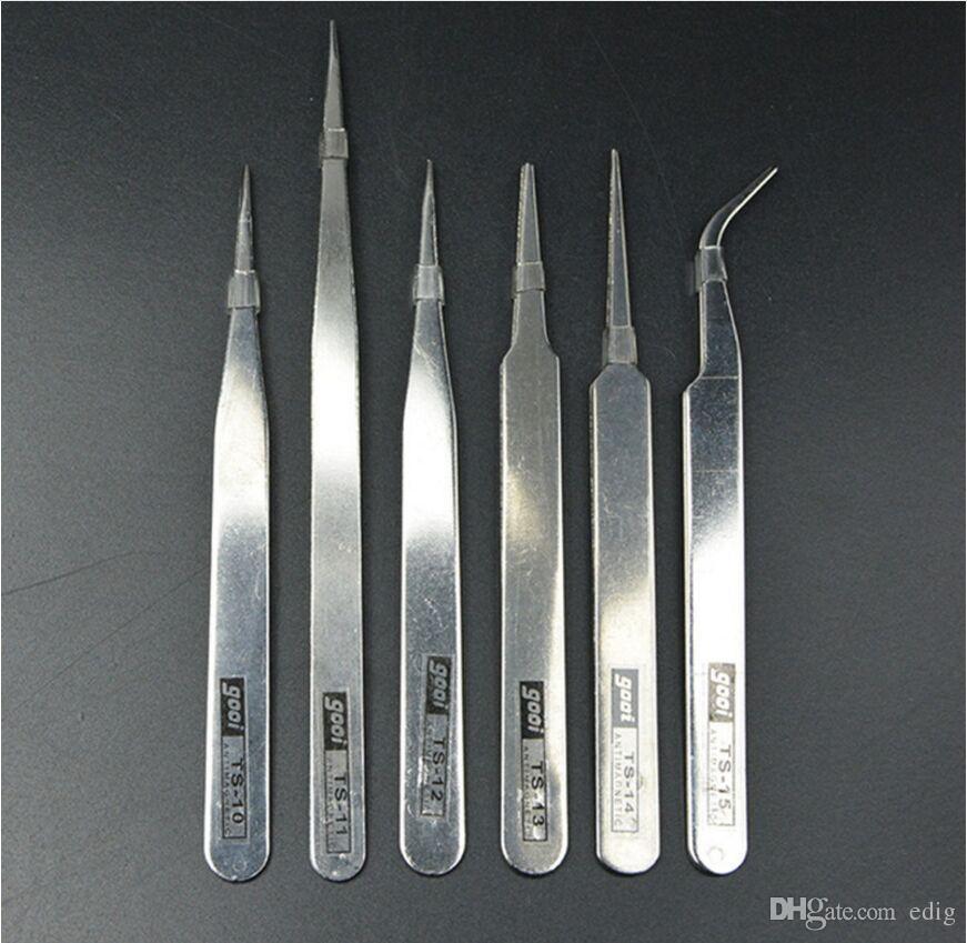 1.0MM 1mm gooi Anti-magnetico Anti-Acido NON corrosivo Pinzette curva in acciaio inossidabile Pinzetta PCB TS-15 TS-10 11 12 13 14