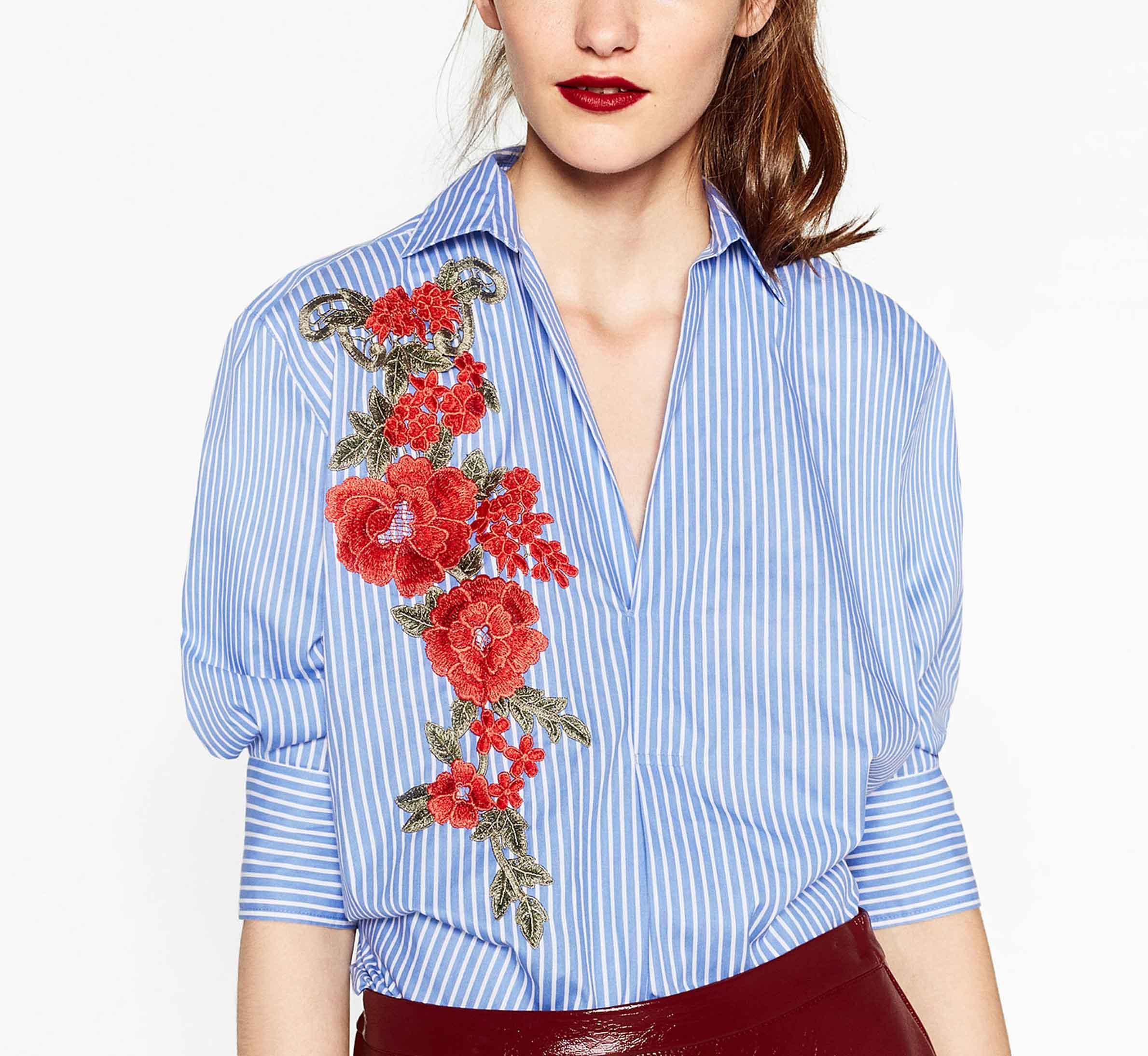 5fe8e062e97 2019 2017 Women Elegant Red Flower Appliques Striped Shirt Embroidered  Blouse Work Wear Office Lady Slim Loose Tops Blusas From Andylife