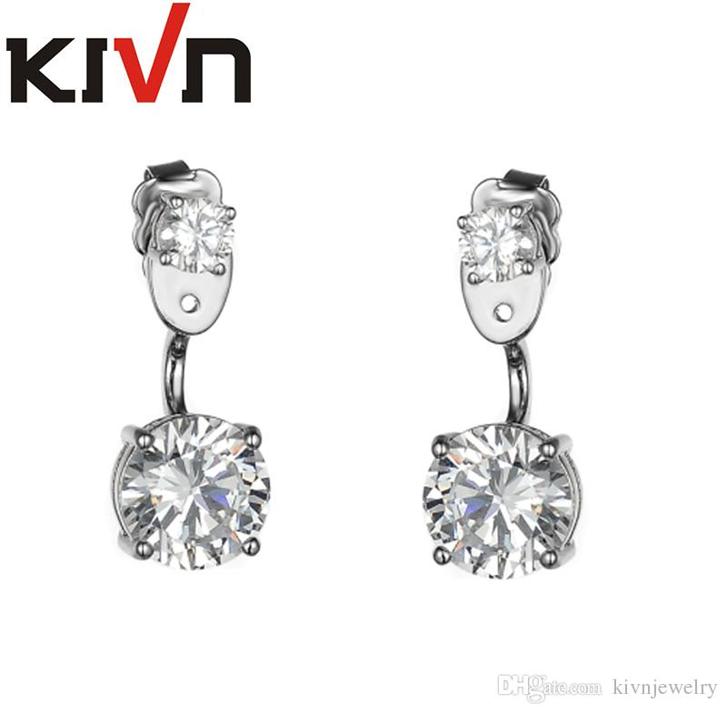 KIVN Fashion Jewelry CZ Cubic Zirconia Bridal Wedding Earring Ear Jackets for Womens Girls Christmas Birthday Mothers Gifts