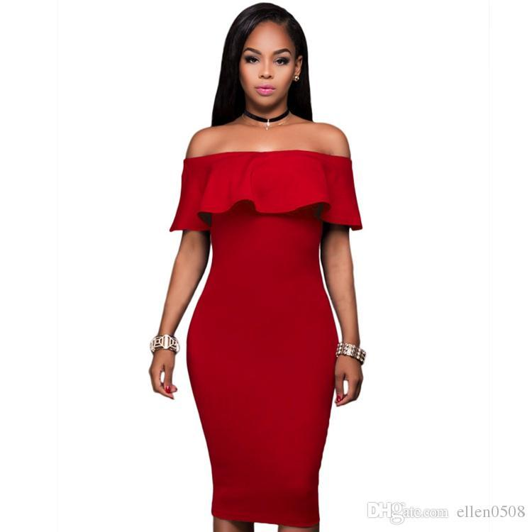 276d5a68a766 Acquista Nuovo 2016 Hot Summer Women Off Spalla Ruffle Dress Sexy Rosso Blu  Navy Senza Spalline Hollow Out Club Party Midi Bodycon Ruffle Dress A   21.02 Dal ...