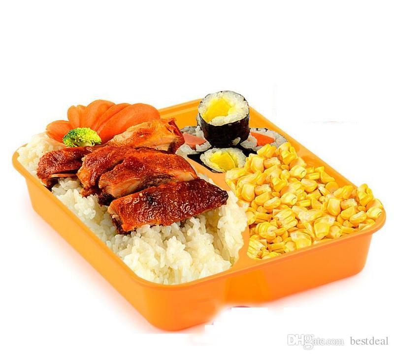 Wegwerp maaltijd Prep-box met deksel 3 compartimenten maaltijd Prep containers Duurzaam voedsel opslag container magnetron lunchbox 850ml