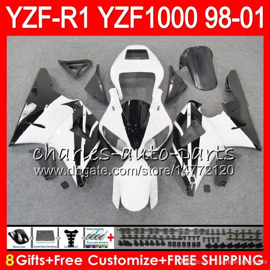 8Gift Corps Pour YAMAHA YZF 1000 R 1 YZFR1 98 99 00 01 61HM20 blanc noir YZF1000 YZF R1 YZF-R1000 YZF-R1 1998 1999 2000 2001 Carénage