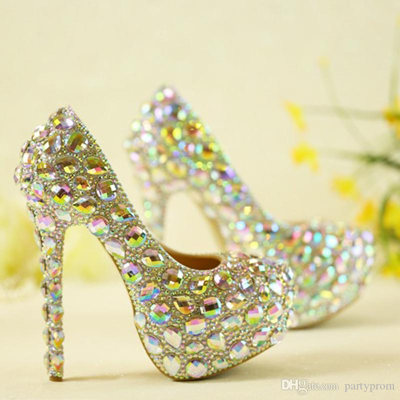 High Quality Sparkling Crystal Wedding Shoes AB Crystal Bridal Dress Shoes  Cinderella Prom Pumps Wedding Party Anniversary Shoes Bridal Collection  Shoes ... 0ccd99535935