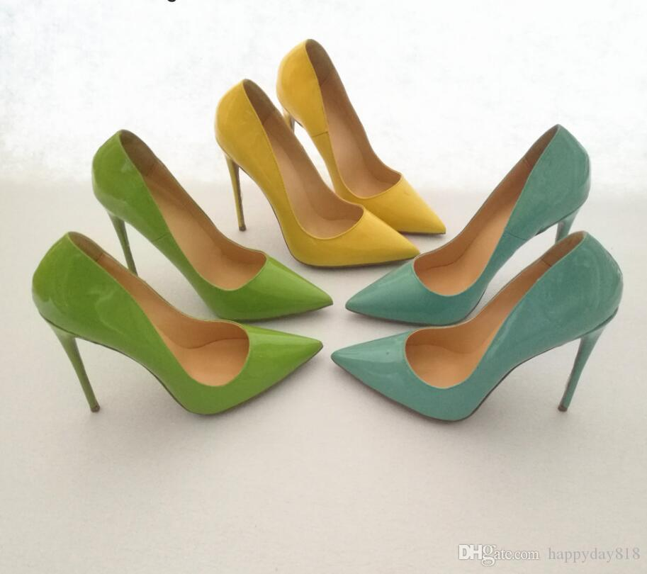 Real photo Patent leather thin High Heels Women Pumps 12cm genuine patent leather candy color Sexy Wedding Shoes Party yellow blue green