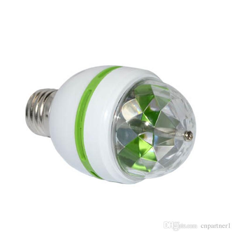 E27 3W la boule magique polychrome 3W RVB a mené des lampes E27 Lampada a mené l'ampoule AC 85-265V 110V 220V tournante automatique allume des lumières pour le spectacle de partie de DJ