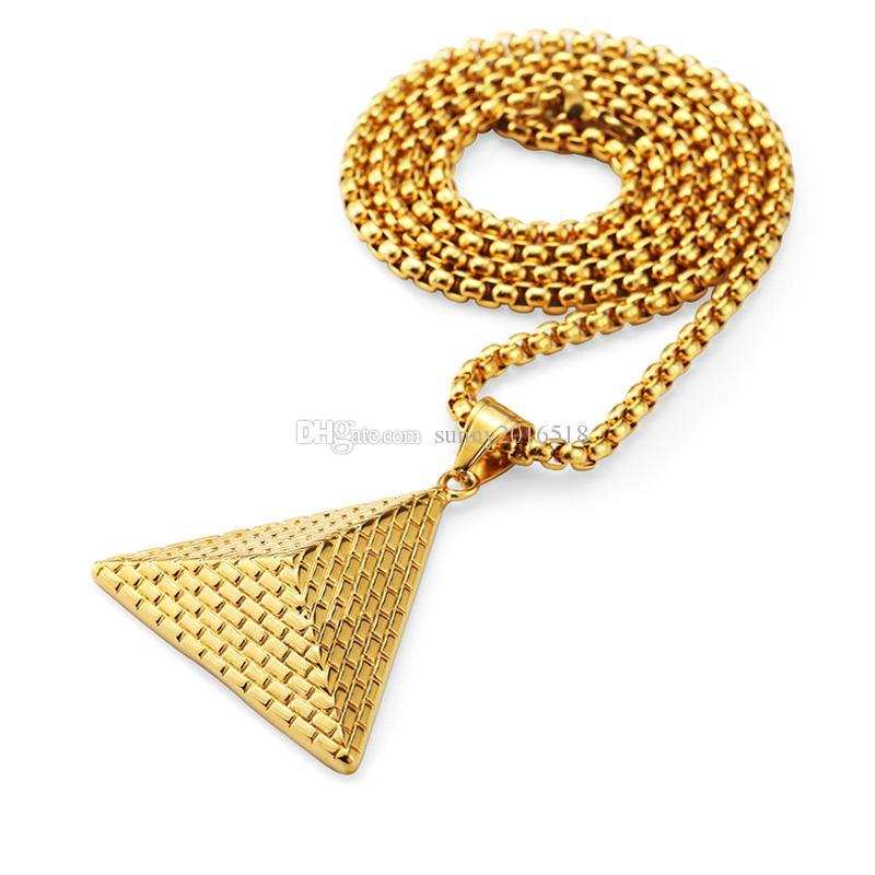 2017 Новая мода 3d пирамида подвеска ожерелье шарм король ожерелья золотая цепочка длинное ожерелье для мужчин персонализированные ретро ювелирные изделия подарки