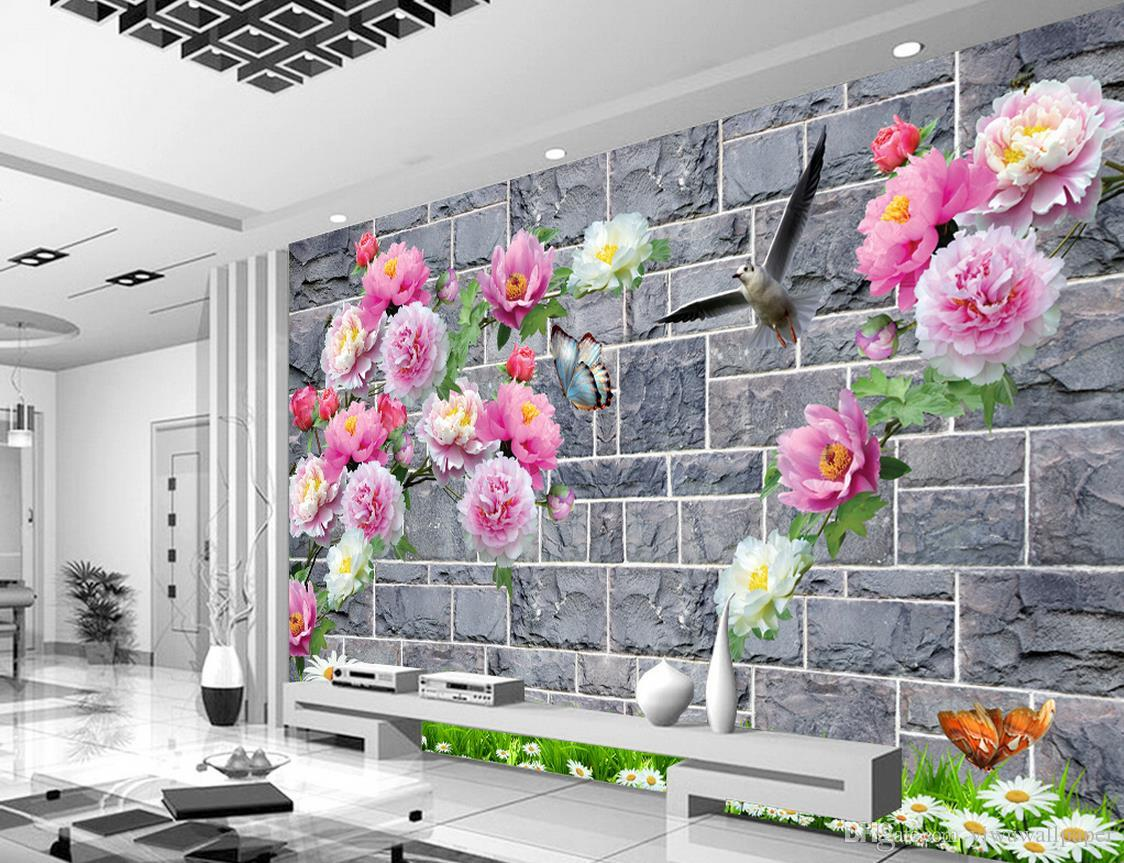 Peony Grid Wall TV Wall Decorative Painting mural 3d wallpaper 3d wall papers for tv backdrop