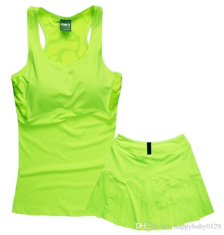 Bir göğüs pedi ile tenis yelek takım NK kadın spor etek takım elbise Ince kolsuz spor yelek etek