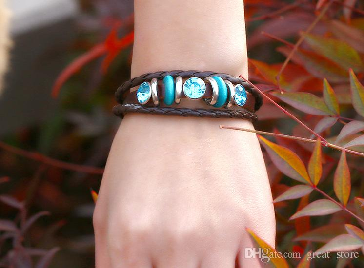 Hot sale Retro personality handmade jewelry cowhide woven hand rope bracelet FB462 a Slap & Snap Bracelets