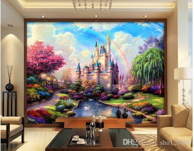 3d room wallpaper custom photo mural fairy tale castle for Fairies wall mural