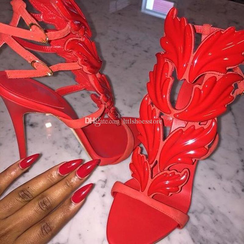 LTTL Brand Shoes Design Cruel Summer Leaves Angle Wings Shoes Woman Buckle Strap Gladiator High Heels Sandals Women Gold Silver Yellow White