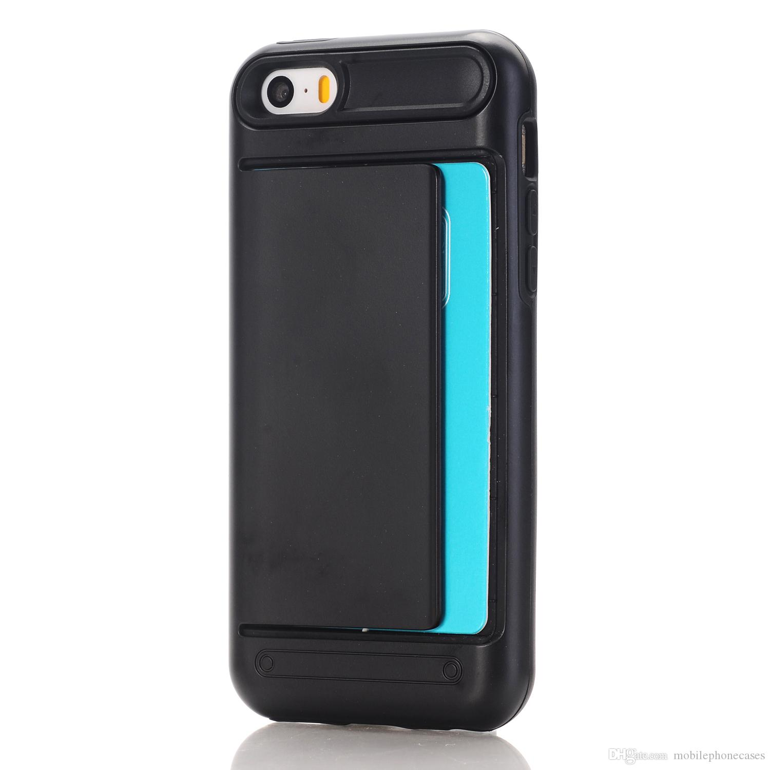Cardslot Case For iphone 6s plus Soft TPU+PC card holder back cover for iphone 6 cases 2017 hot sale 11kinds color