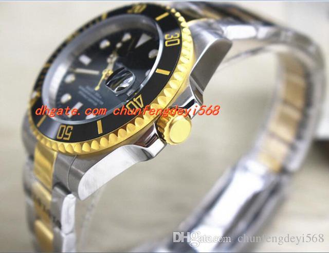 패션 명품 시계 고품질 116613 스틸 18k 골드 블랙 세라믹 스테인레스 스틸 팔찌 시계 자동 Mens 시계 남자 시계