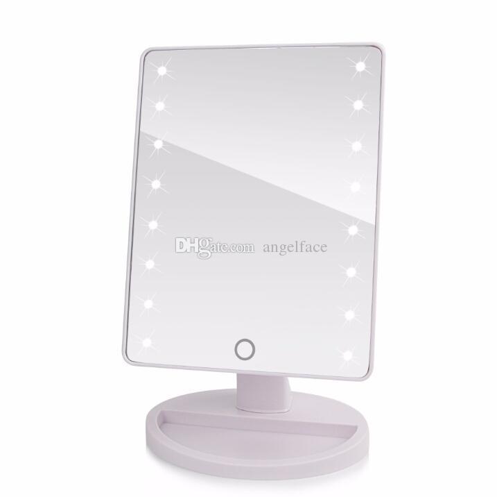 Rotación de 360 grados Pantalla táctil Espejo de maquillaje Cosmético Plegable Portátil Compacto Bolsillo con luces LED Herramienta de maquillaje es con caja