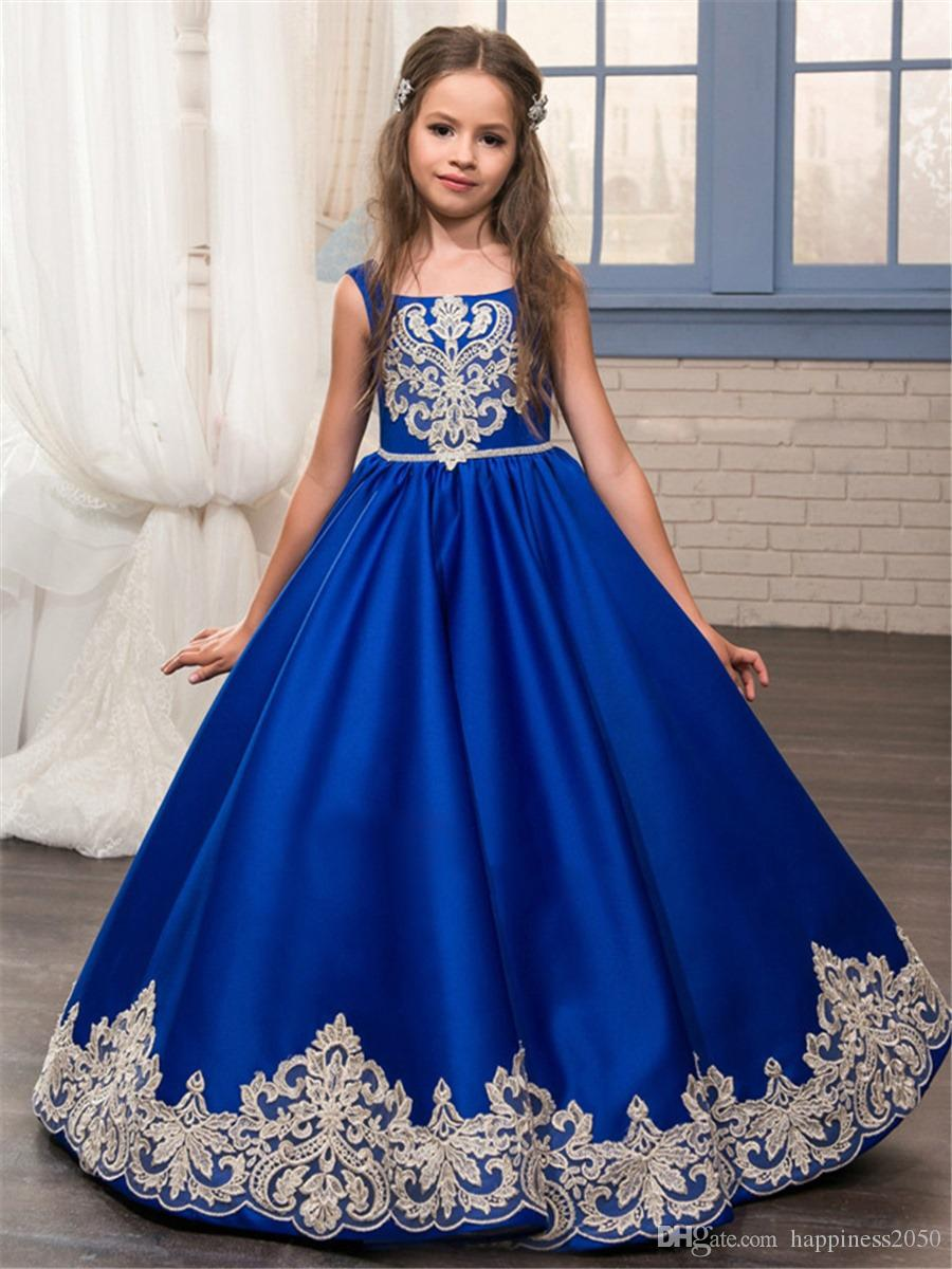 10dbb9a88 Princess Royal Blue Square Satin Applique Girl s Pageant Dresses ...